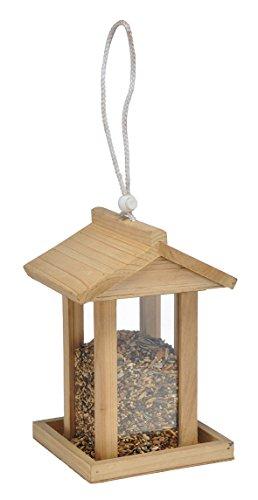 Bambelaa! Vogelfutterhaus Vogelhaus Futterstation Vogelhäuschen Vogel futterhäuschen Holz Aufhängevorrichtung ca. 14,5 x 14,5 x 22cm Wildvogel