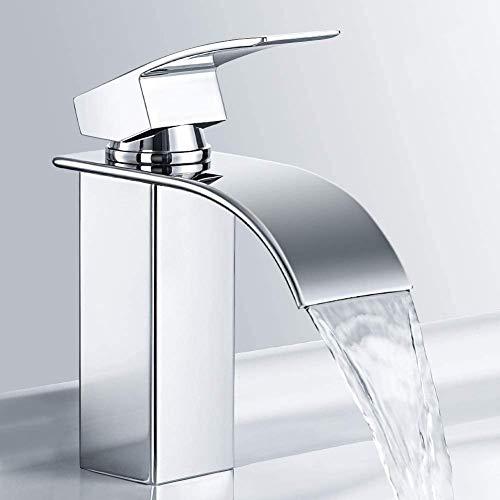 M MEHOOM Wasserfall Wasserhahn Bad, Chrom Wasserhahn Waschbecken für Badezimmer, Einhandmischer Waschtischarmaturen, Keramikventil, Kaltes und Heißes Wasser...