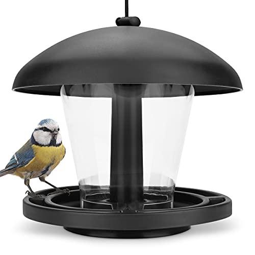 WILDLIFE FRIEND I Vogelfutterspender zum Aufhängen - Schwarz, Vogelfutterstation für Wildvögel I Vogel Futterstation, Futterspender Vögel, Vogelfutterhaus,...