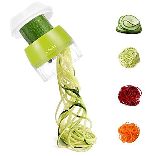 Adoric Spiralschneider Hand [ 4 in 1 ] Gemüse Spiralschneider, Gemüsehobel für Karotte, Gurke, Kartoffel,Kürbis, Zucchini, Zwiebel,...