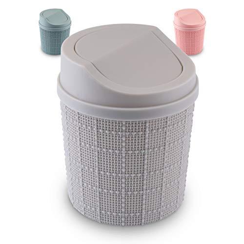 goodspot® Tischmülleimer (grau) mit Schwingdeckel 1,5l Tischabfalleimer Schreibtisch kompaktes Design Kosmetikeimer Mini Mülleimer Bad für den Waschtisch