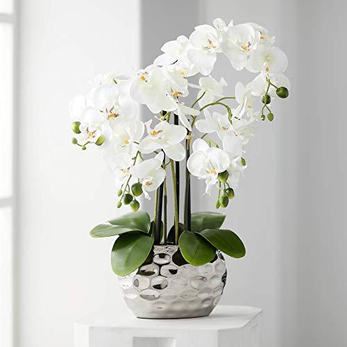 Kunstpflanze Orchidee Phalaenopsis mit silber-farbigem Keramiktopf - ca. 53cm hoch (weiß)