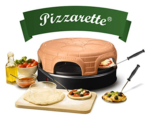 Emerio Pizzaofen, PIZZARETTE das Original, handgemachte Terracotta Tonhaube, patentiertes Design, für Mini-Pizza, echter Familien-Spaß für 6 Personen,...