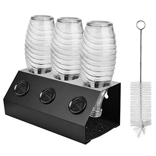 ShinePick Flaschenhalter für SodaStream Flaschen, Aluminiumlegierung mit Flaschenbürste Deckelhalter Flaschenständer und Abtropfmatte, 3er Abtropfhalter für...