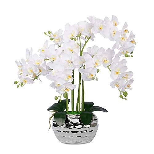 Künstliche Orchidee, weiße Orchidee, Zimmerpflanzen, künstliche große Phalaenopsis-Seidenorchiden mit silbernem Keramik-Topf, künstliche Blumenarrangements...