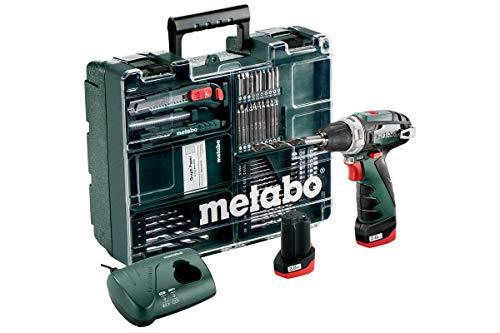 Metabo 600080880 Akku-Bohrschrauber klein PowerMaxx BS Basic Set 10,8V, 2x 2Ah Li-Ion Akkus, inklu. Ladegerät, im Koffer, mit 64-teiligem Zubehör-Set, max....