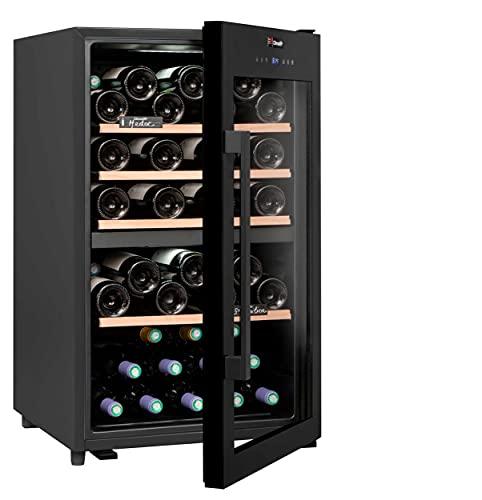 CLIMADIFF CD56 Design Weinkühlschrank mit Glastür | 56 Flaschen | 2 Zonen Kühlung | TÜV geprüft | Flaschenkühlschrank groß | Kompakt 85x50x54 cm | Leise...