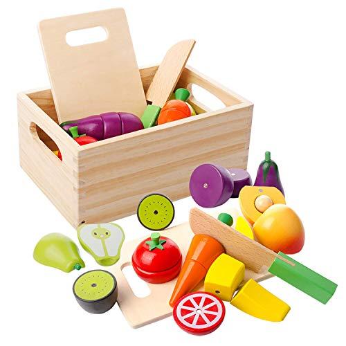 mysunny Hölzernes Küche Kinder Spielzeug, Schneiden Sie Obst und Gemüse Magnetspielzeug, Kochen Lebensmittel Simulation Bildungs und Farbe Wahrnehmung für...