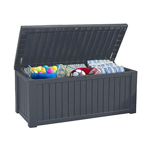Koll Living Auflagenbox/Kissenbox 570 Liter l 100% Wasserdicht l mit Belüftung dadurch kein übler Geruch/Schimmel l Moderne Holzoptik l Deckel belastbar bis...