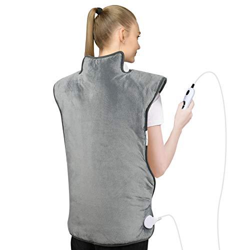 Heizkissen für Rücken Schulter Nacken,73 x 58 cm Elektrisch Wärmekissen mit Abschaltautomatik Heizdecke mit 6 Temperaturstufen und 4 Timing-Einstellung für...