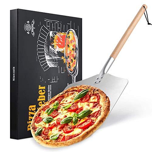 Miuezuth Professionellen Aluminium Pizzaschaufel - Alu Pizzaschieber mit großer Fläche (30,5cm x 33,5cm), Pizza Schieben with Dismountable Langen Holzgriff -...