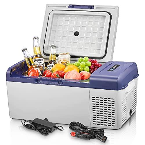 15 Liter Auto-Kühlschrank, 12V Kompressor Kühlbox, -20℃~20℃ Tragbarer Mini-Kühlschrank, Elektrische Kühlbox für Auto, Lkw, Boot, Reisemobil,...