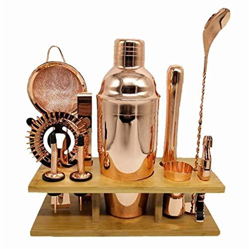 ZLDGYG Edelstahl Cocktail Shaker Set Barware Kit Mit Quadratischem Holz Rack Tool