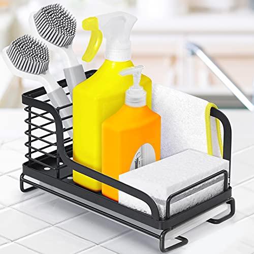 OriwarE Spülbecken Organizer Küchenutensilienhalter mit Abtropfschale für die Küche Caddy Ordnungshelfe Halter Ablage für Schwamm Bürste Rostfreier...