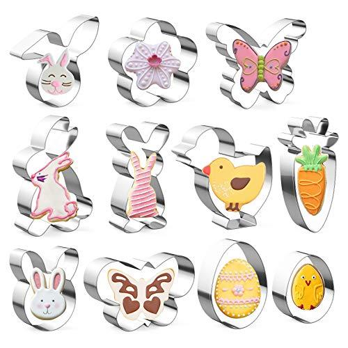 Ausstechförmchen Ostern, 11 Stück Oster Ausstecher Set, Plätzchen Ausstecher Ostern, Ausstechform|Ausstecher Hase|Keksausstecher Ostern, Ideales...