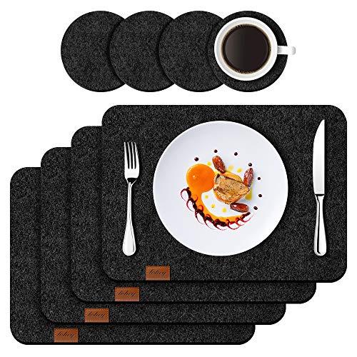 Filz Platzset Tischset mit Untersetzer 4er Set, 44x32 cm Hitzebeständig Anti-Rutsch Filzmatte Teller Untersetzer Abwaschbare Tischläufer Tischuntersetzer...