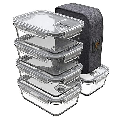 GENICOOK Lunchbox Bento Brotdose mit Lunchtasche/Frischhaltedosen Glas perfekt für Meal Prep - BPA frei und LFGB-zugelassen für Home Küche oder den Gebrauch...