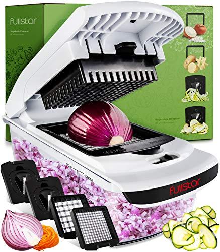 Gemüseschneider Gemüsehobel Obstschneider Mutischneider - 4 in 1 Gemüse Schneider mit Behälter Zwiebelschneider Spiralschneider - Food Chopper Slicer Dicer...