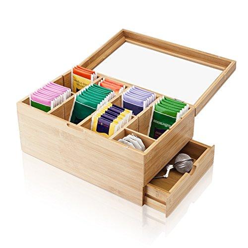 Amazy Teebox aus Bambus extra groß – 31 x 19 x 14,5 cm – Dekorative Vorratsdose aus Holz mit 8 verstellbaren Trennfächern und Schublade