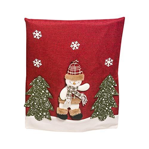 Luccase 1 Stücke Weihnachten Stuhlhussen 58x48 cm Weihnachten Stuhlbezug Elk Weihnachtsmann Schneemann Stoff 3D Weihnachten Puppe Stuhl Fühlte Weihnachten...