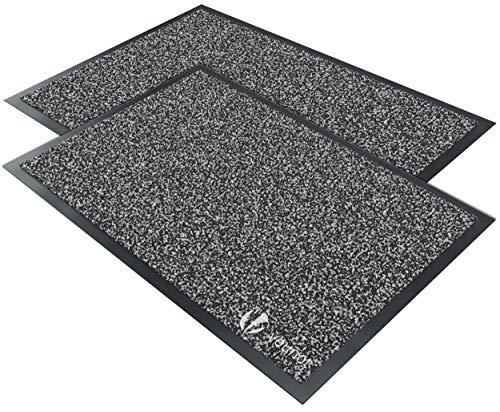 VOUNOT 2er-Set Schmutzfangmatte Waschbar, Fußmatte für Haustür Innen und Außen, Türmatte rutschfest, Anthrazit-Schwarz, 40x60cm