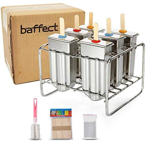 Baffect® Edelstahl Popsicle Form mit Stick Holder Eiscreme Form von 6 (Runden)