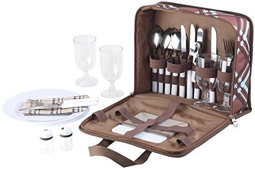 Xcase Picknicktasche: 30-teiliges Picknick-Set für 4 Personen, inkl. Tasche, Teller, Gläser (Camping Geschirr)