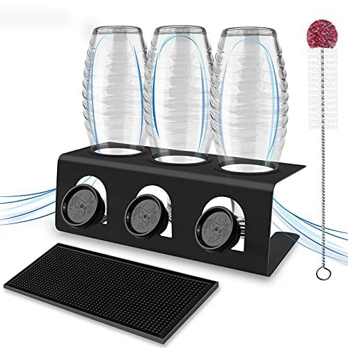 Flaschenhalter für Sodastream 3er aus Edelstahl Abtropfhalter Sodastream mit Abtropfwanne, Abtropfständer Flaschenständer Flaschen mit Flaschenbürste...