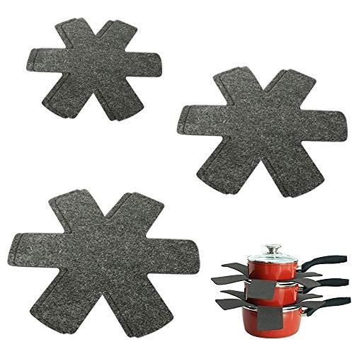 KunFu Mall Kratzfeste Pfannenschutz, 6 Stück, rutschfeste Topfschutz, Trenner, Herde und schützt Oberflächen von Kochgeschirr (grau, 3 Größen)
