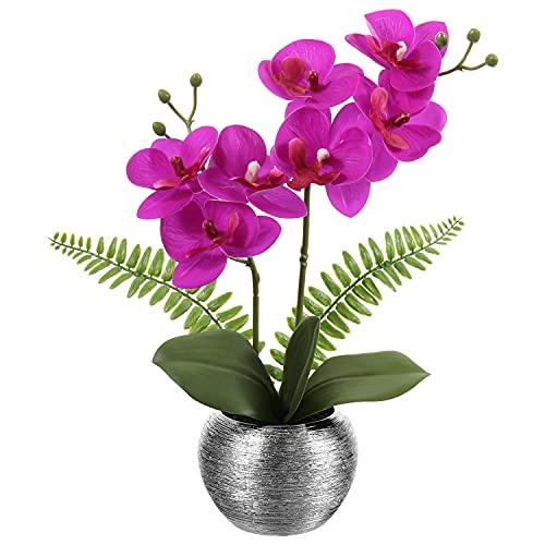 Kunstblumen Künstliche Orchideenblumen Phalaenopsis Bonsai Künstliche Orchidee im Silberfarbenen Topf für Esstisch, Schreibtisch oder Empfangsraum