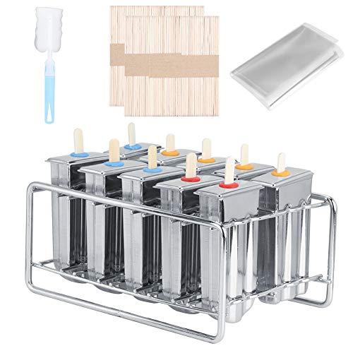Oumefar Edelstahl Eislutscher Form EIS am Stiel Form Eisform mit Stabhalter Basis Set von 12 EIS Pop Form DIY Eismaschine Gefrierschrank Home Kitchen