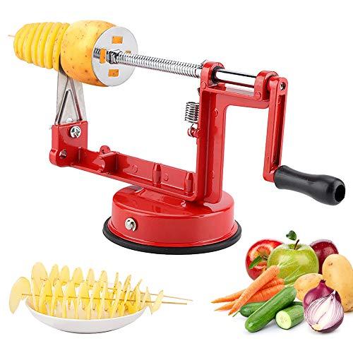 Spiralschneider Kartoffel, Apfelschneider Kartoffelschneider Edelstahl Tornado Schneider Kartoffel Twister mit Rutschfester Griff Chipsmaschine für Obst...