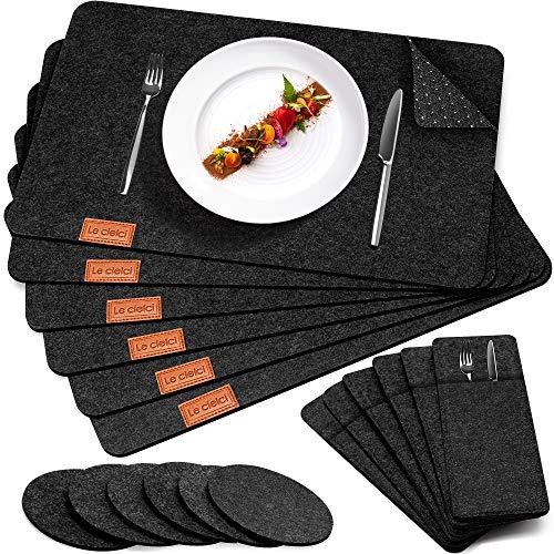 Le cielci® Tischset Filz Anthrazit | 18er Set - 6 Platzsets, Glasuntersetzer, Bestecktaschen | rutschfest Abwaschbar Tischsets | Filzmatte Platzdeckchen...