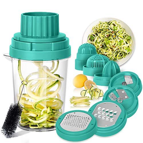SveBake Spiralschneider Gemüse Hand 8 in 1, Julienneschneider, Zoodle Maker, Spiralizer für Karotte, Gurke, Zucchini, Zwiebel | Grün