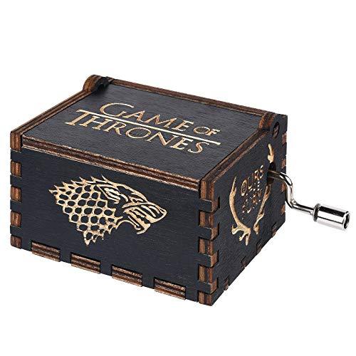 Funmo - Premier Spieluhr,Black Game of Thrones Gravur aus Holz Dekorative Box Reine Hand-Klassischen Spieluhr Kreative Holz Handwerk
