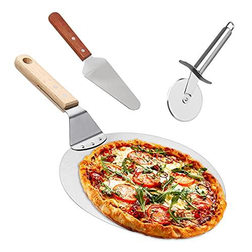 Yoyoblue Pizzaschieber Pizzaschaufel Edelstahl+Pizzaheber mit Holzgriff+Pizzaschneider Qualitäts Dreiteiliger Anzug Bäckerutensilien 3 in 1, zum Backen von...