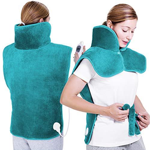 sinnlein Heizkissen, 60x85cm, elektrisch für Rücken Schulter Nacken   Wärmekissen mit 3 Temperaturstufen & Abschaltautomatik (Türkis)