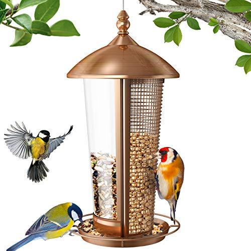 Sahara Sailor Vogelfutterspender,2 in 1 Wildvogel Futterspender für draußen,1,1 kg Hängendes Haus Metall Vogel Futterstation,Antikes Kupfer Finish,für...