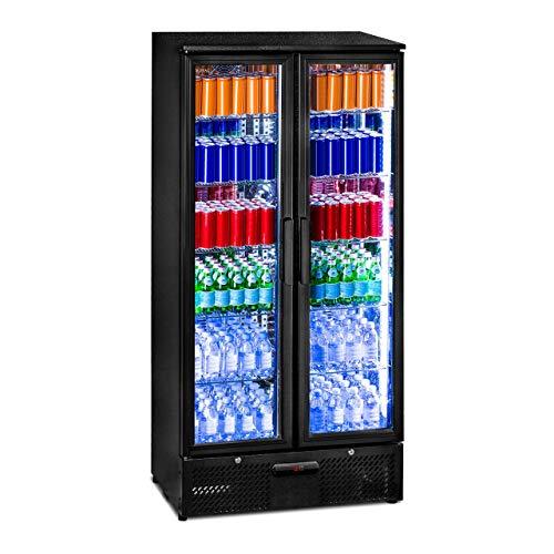 Royal Catering RCGK-458C Getränkekühlschrank Flaschenkühlschrank mit Glastür Standkühlschrank (458 L, 2–10 °C, abschließbare Türen mit...