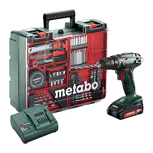 Metabo Akku-Bohrschrauber BS 18 Set (602207880) 18V 2x Li-Ion; Ladegerät SC 30; Kunststoffkoffer; Mobile Werkstatt, Art des Akkupacks: Li-Ion , Akkuspannung:...