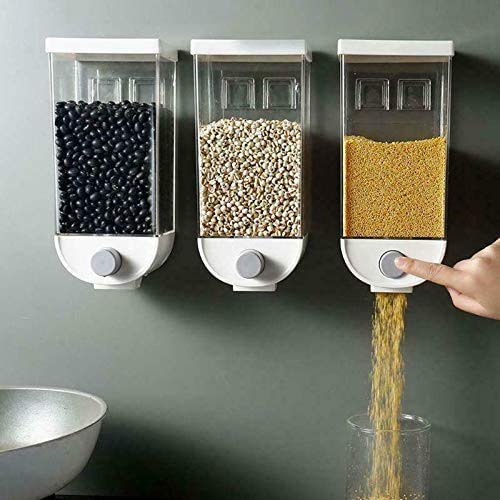 Wuudi Wandmontage Lebensmittelspender, Easy Press Trockenfutter Körner Nüsse Kaffeebohnen Sojabohnen Dispensierbehälter, Küche Lebensmittelbehälter...