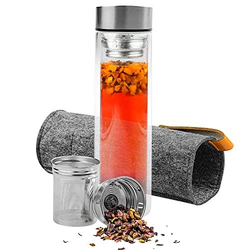ONKERS Teeflasche mit Sieb - Stahlverschluss - Doppelwandisolierung, 100% Auslaufsicher, 500ml mit ISO Filztasche