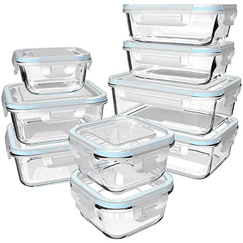 GENICOOK Frischhaltedose aus Glas/Glasbehälter mit Deckel/Vorratsdosen/Glasschüssel/Aufbewahrungsbehälter/Lebensmittelbehälter - Geschirr für mikrowelle...