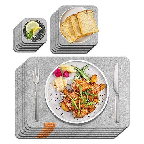 Sportout 6er Set Anti-Rutsch Tischset, anthrazitfarbene platzsets aus Filz abwischbare Filzmatte aus 30 x 45 cm, grau/Schwarze Matte (Untersetzer,...