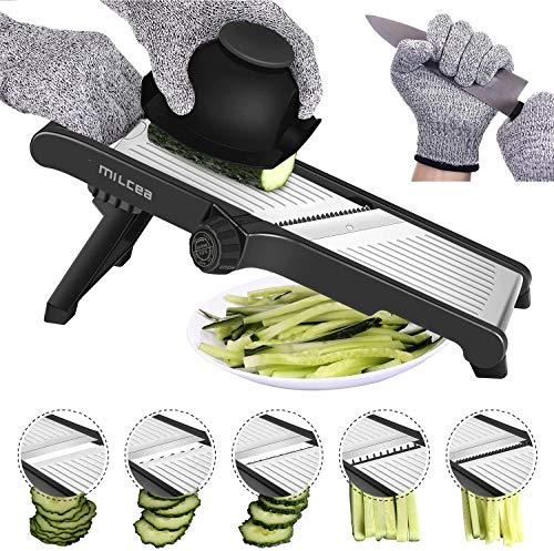 Gemüsehobel Edelstahl, 3 in 1 Multifunktion Allzweckreibe Gemüsehobel Verstellbar Edelstahl Gurkenhobel, spülmaschinengeeignet