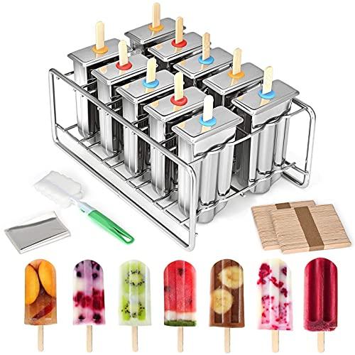 InLoveArts Eisformen, 10er Pack Formenset, Edelstahl in Lebensmittelqualität, hausgemachte Eisform mit Eisenmöbelhalter