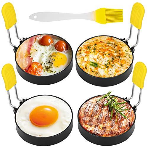 Bolatus 4 Stück Spiegeleiform Egg Ring Ei Ring Edelstahl Runde Eierringe Antihaft-Eierringe mit Klappgriffen Ölflaschenbürste Omelettform Zum Kochen von...