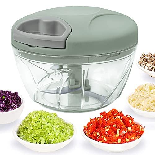 520 ml Handzerkleinerer manuelle Küchenmaschine, Zugschnur zum Schneiden von Gemüse, Zwiebeln, Knoblauch, Nüssen, Tomaten in Sekunden, gebogene...