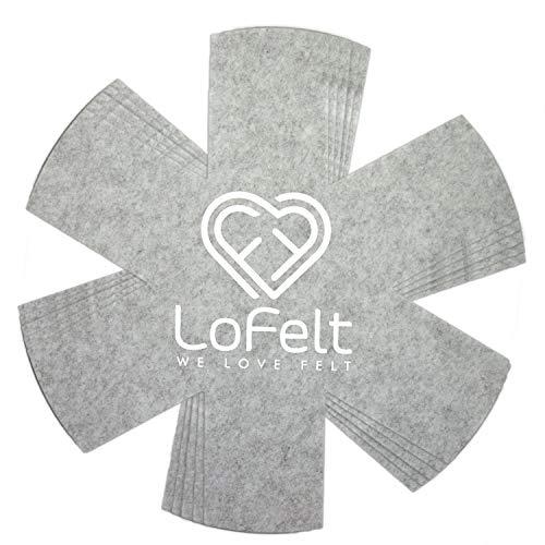 LoFelt® ❤ - Stapelschutz 5er-Set für Pfannen, Töpfe und Schüsseln aus Filz - XL 32cm - Pfannenschutz Topfschutz - Sternform hellgrau