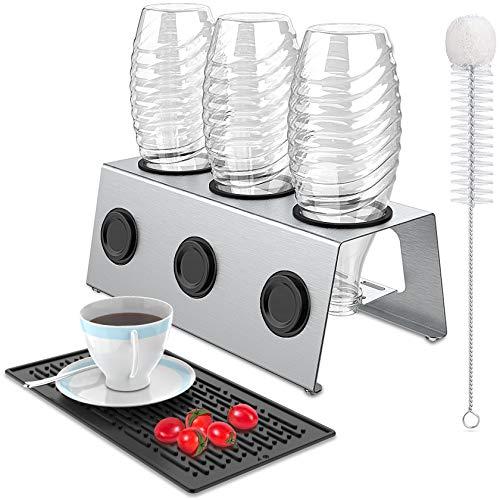 Sodastream Flaschenhalter 3er aus Edelstahl mit Abtropfwanne für Crystal, Abtropfhalter Soda Flasche für Glas Flaschen, Abtropfgestell Flaschen für Emil...